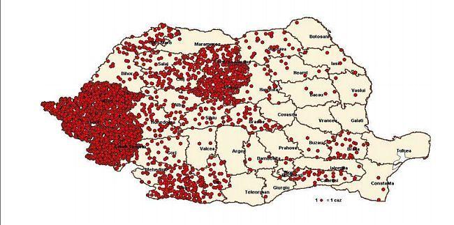 harta cazurilor de rujeolă în România