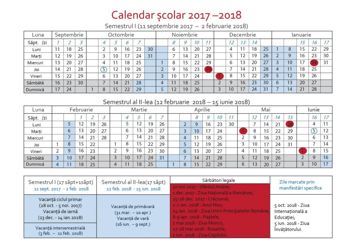 Calendarul pentru anul școlar 2017-2018. Când sunt ...