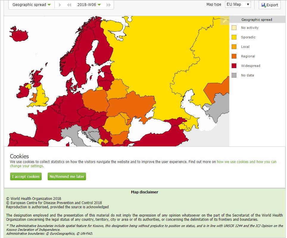 Răspândirea geografică a gripei în Europa în luna februarie 2018