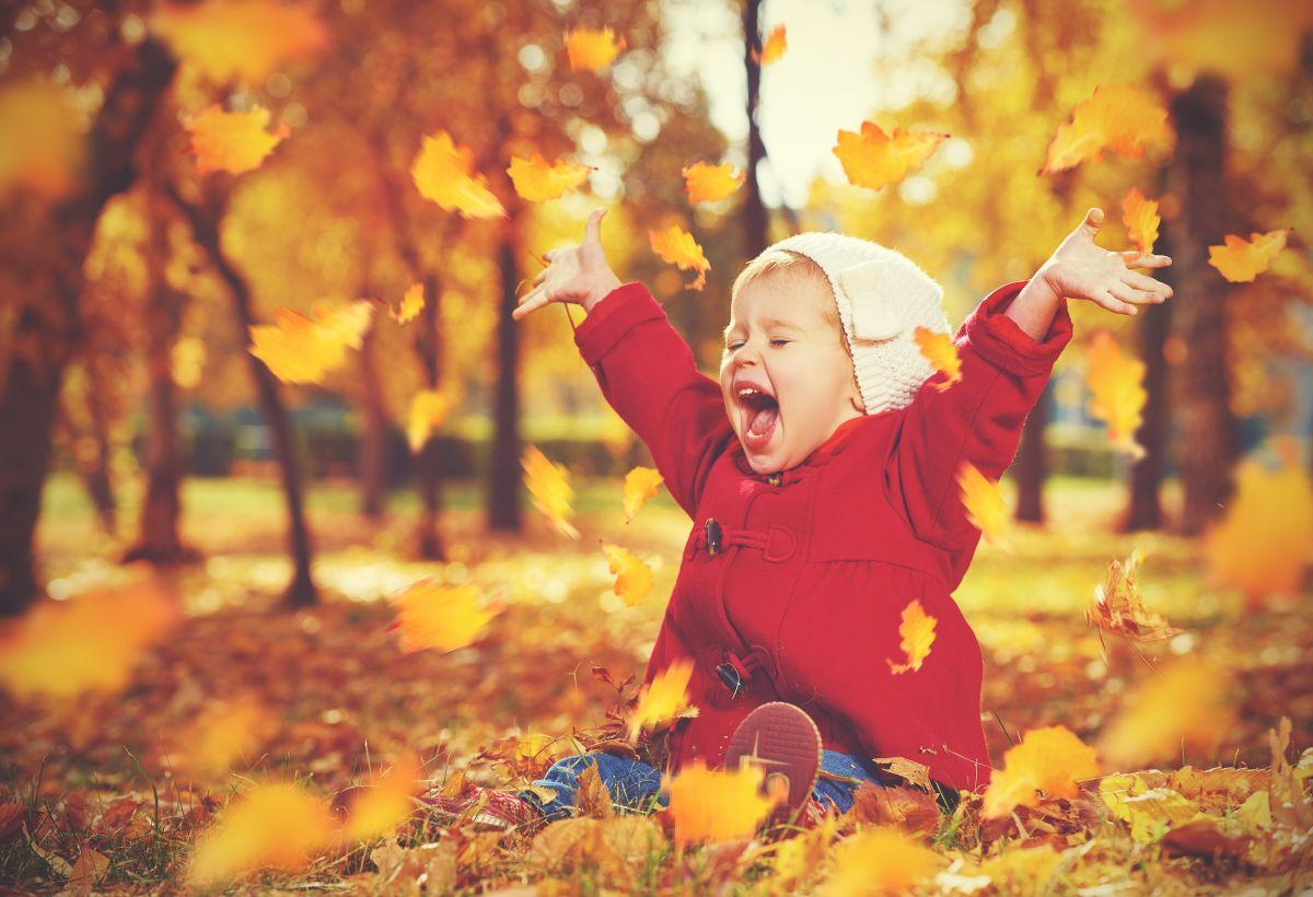 copil toamna frunze afara